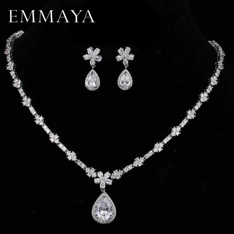 Emmaya цветы сверкающих белый CZ кристалл кулон Ювелирные наборы подарок Мода Кристаллические серьги Цепочки и ожерелья невесты Свадебный ком…