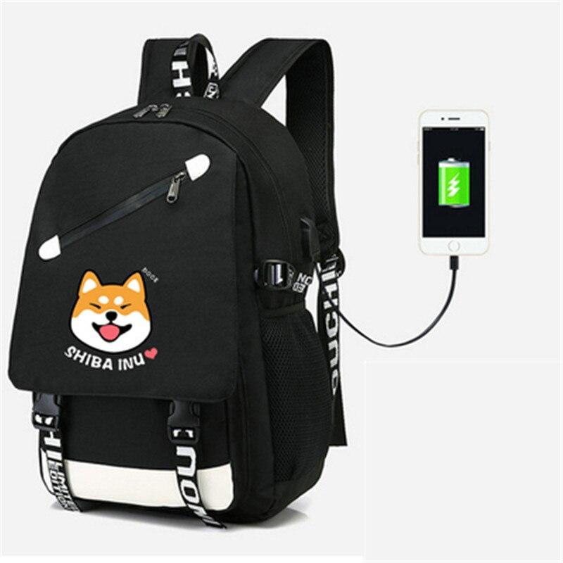 Kawaii Clothing Harajuku Backpack Bag Shiba Inu Dog Japanese Doge Black Blue