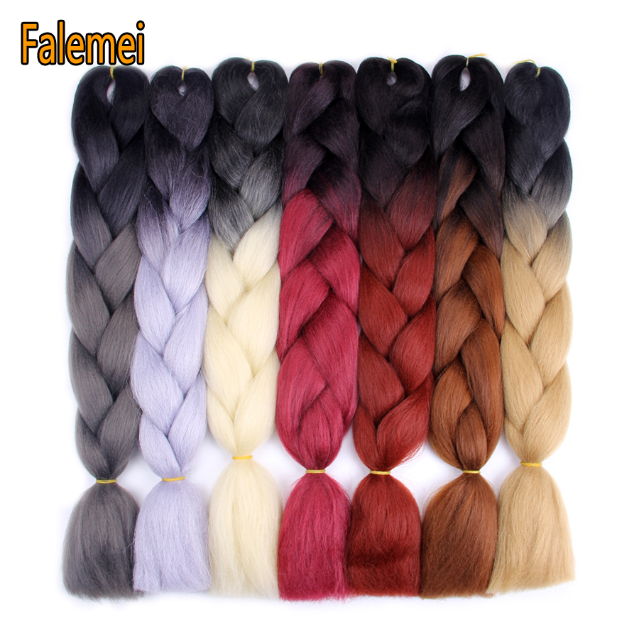 FALEMEI Ombre Kanekalon Jumbo Braiding Hair Extensions 24inch 100g/pack Synthetic Crochet braids Hair For Women Colored