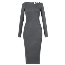 Buttons Woman Long Sleeve Knee Length Body Dresses Sweater Knitted Clothes 2018 Spring WS5356U