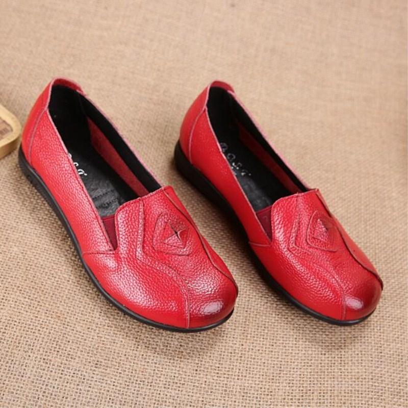 Un rojo Cuero Primavera Retro Mujeres De Pedal naranja Planas Otoño Nueva Negro Ancianos Ocasional Tamaño 2018 Genuino Sección Moda Zapatos Las Grande Caliente AWpw6PnBq