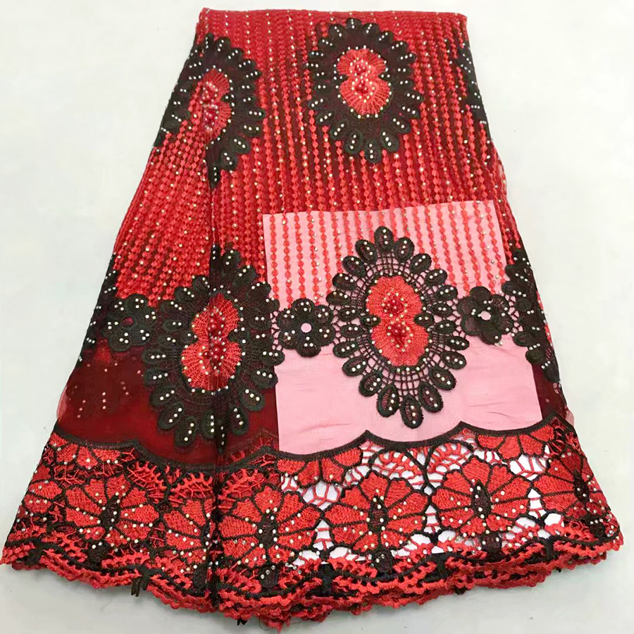Red+Black color Women Nigerian Embroidered Lace Materials Net Lace Fabric High Quality Rhinestones french tulle lace fabricsRed+Black color Women Nigerian Embroidered Lace Materials Net Lace Fabric High Quality Rhinestones french tulle lace fabrics