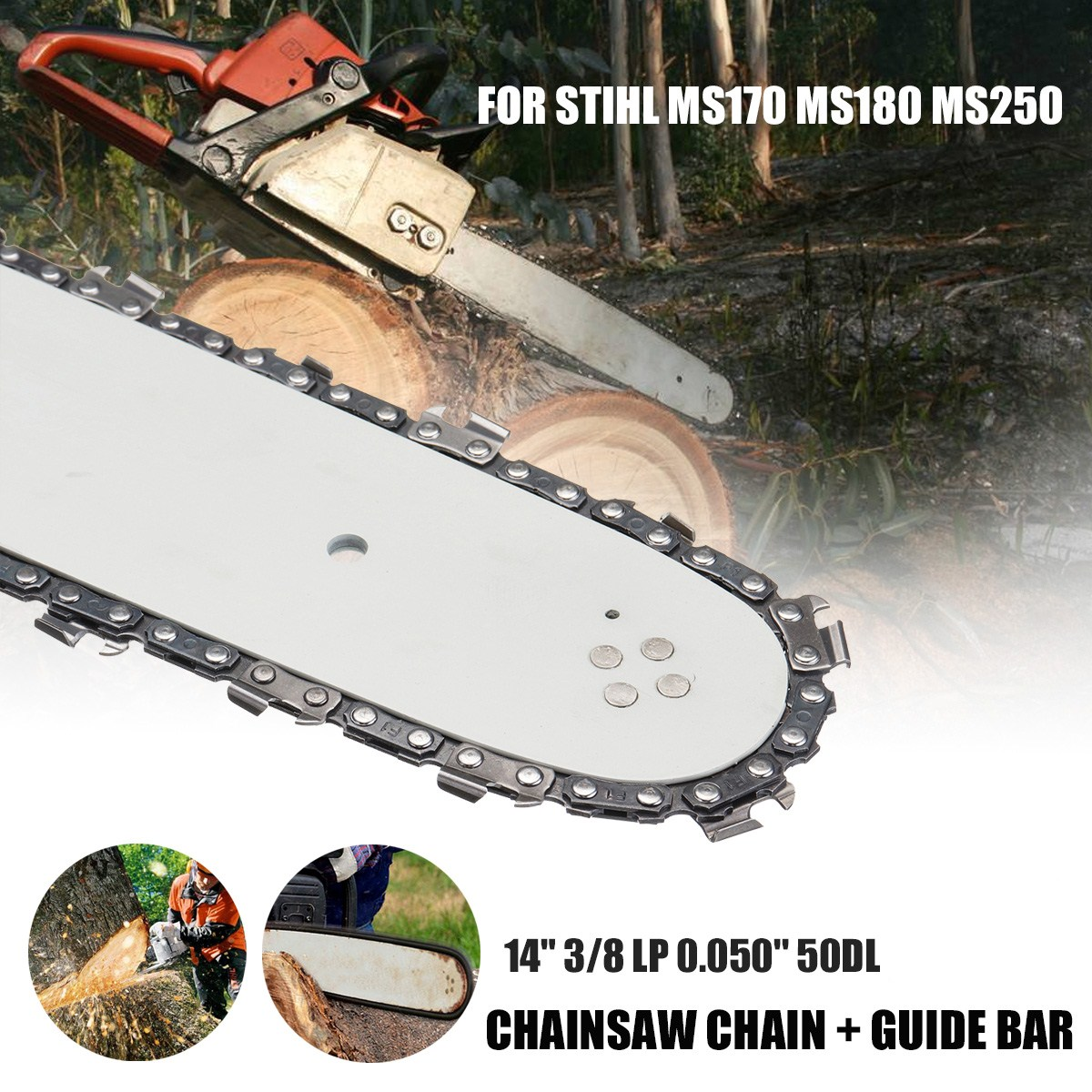 14 Chain Saw Guide Bar for STIHL MS170 MS180 MS250 Universal Home Chains 3/8 LP 50DL Bar Tool for Wood Cutting Saw Chain Parts 4pcs 20 chainsaw guide bar with saw chain 3 8 72dl 63 for stihl ms290 ms291 310 340 360 361 361c power tools accessories