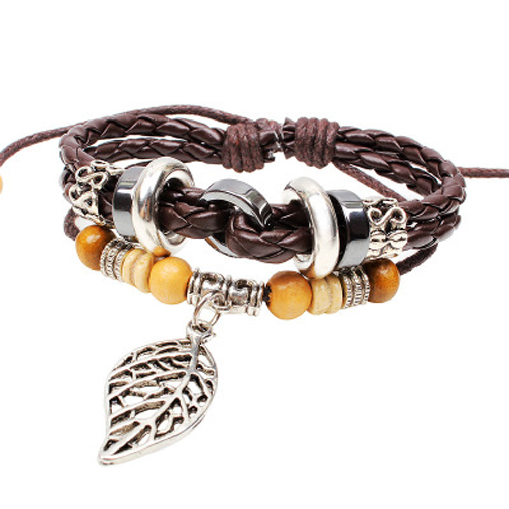 2018 New Punk Style Fashion Bracelet beaded jewelry wooden beads braided leather alloy Maple Leaf bracelets for Women Man Gifts