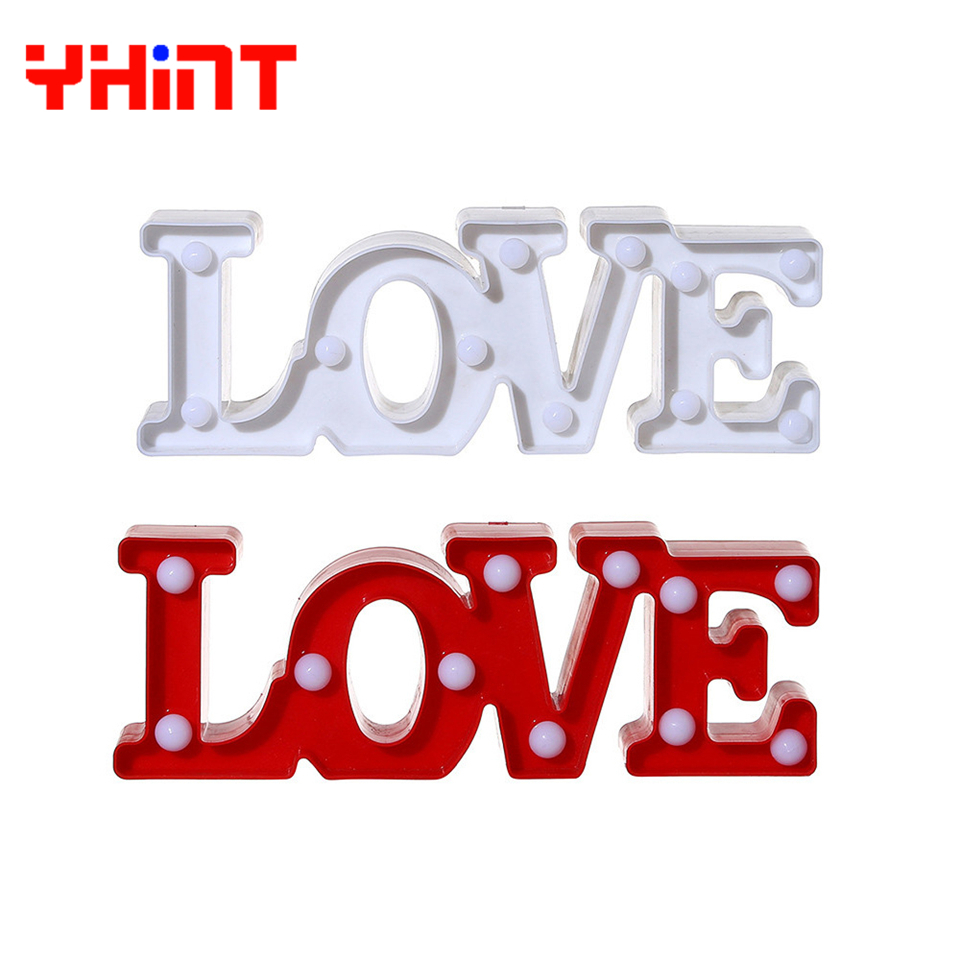 Романтический 3D любовное письмо светодиодный теплый белый светодиодный ночник настольная лампа для Спальня/прикроватные украшения Свадеб...