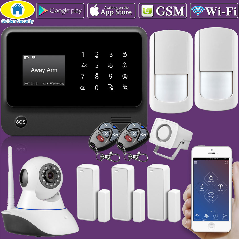 Golden Security G90B Plus WIFI GSM 2G IOS Android APP Remote control Home  Security Alarm System IP Camera Integrated