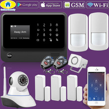 Original G90B WIFI GSM alarm system with Touch keypad IOS Android APP control Alarm System security home usuage with IP camera  цена и фото