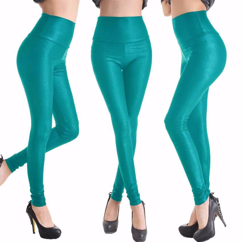 2017 New Women Sexy Leggings Faux Leather Stretch Legging High Waist Leggings Juniors Pants 4 size 21 Colors 9