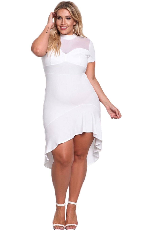 Plus Size Ruffle Hi-Lo Mesh Trim Dress Sexy White Lace Bodycon Dress