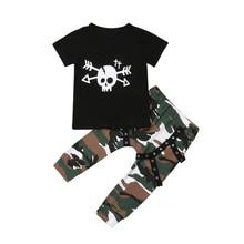 цена на Toddler Kids Baby Boy Skull T-Shirt Short Sleeve Tops Camouflage Pants 2Pcs Outfits Clothes Setset