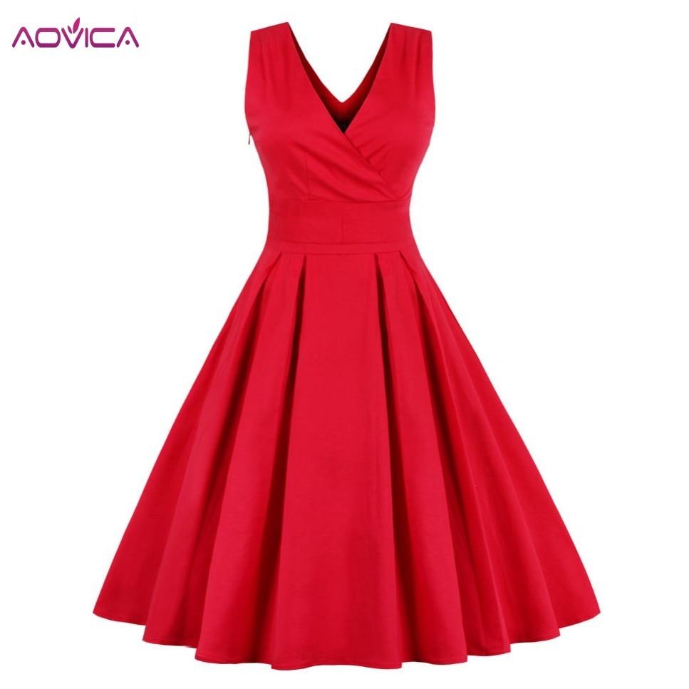 Aovica Women Clothing Summer Retro 50s 60s Red Navy Blue Dress Dots Pinup Rockabilly Sexy Party Tunic Dresses Vestidos De Fiesta