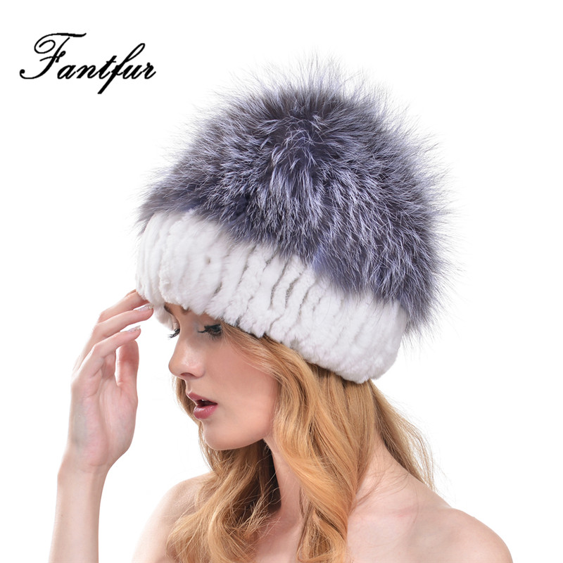 FANTFUR Women Knitted Genuine Rex Rabbit Fur Hat With Large Natural Silver Fox Fur Top Beanies 2017 Winter Thick Rabbit Fur Cap winter fur hat for women knitted rex raccoon fur hat berets cap for woman with fox fur flower top free size casual women s hat