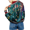 Spring Autumn Bomber Flight Jacket Women Floral Phoenix Pattern Printed Green Baseball uniform Female Long Sleeve Outwear Tops