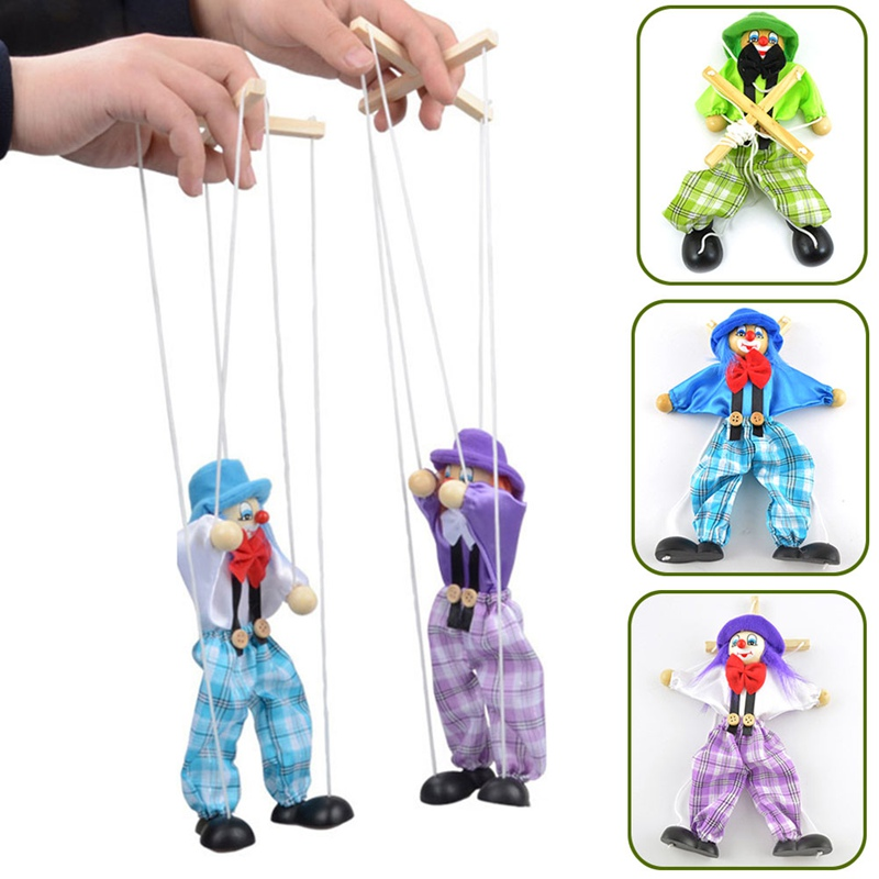 Puppet Clown Toys Doll Pull-String Marionette Handcraft Wooden Funny Vintage Kids Joint-Activity