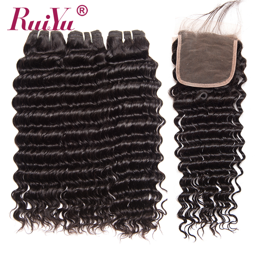 RUIYU Hair Malaysian Deep Wave Bundles With Closure Non Remy Hair 3 Bundles Deal Human Hair With Lace Closure 4*4 Top Swiss Lace
