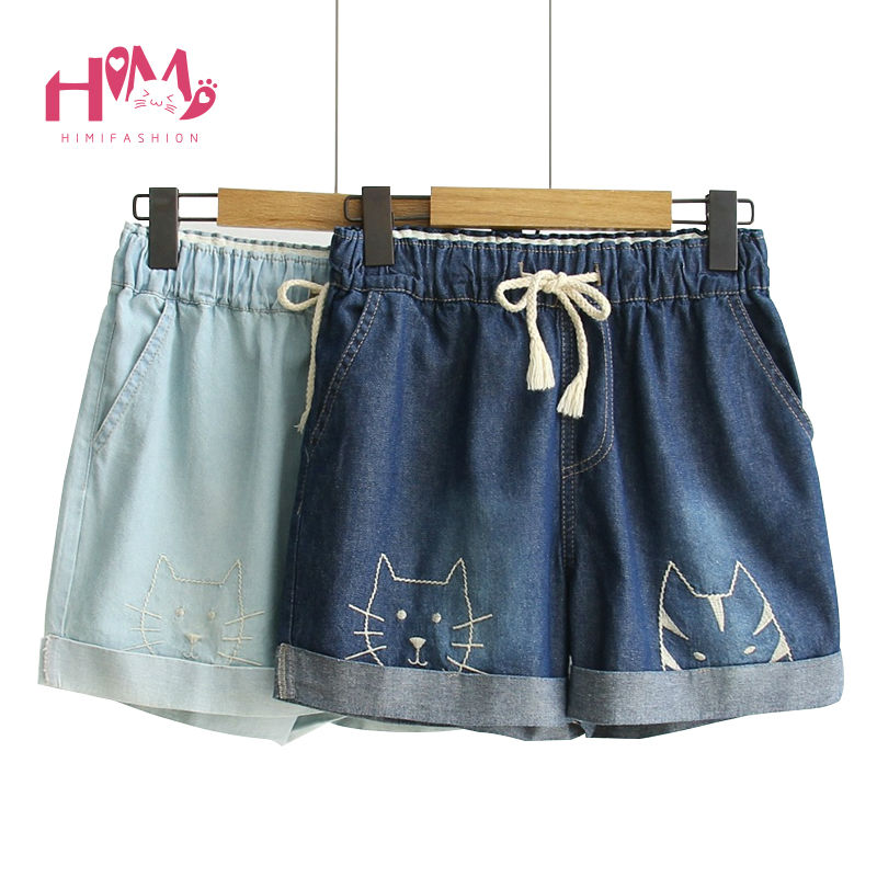 Mori Girl Embroidery Women Denim Shorts Elastic High Waist Wide Leg Female Shorts Cartoon Cat Casual Loose Blue Jeans Trousers