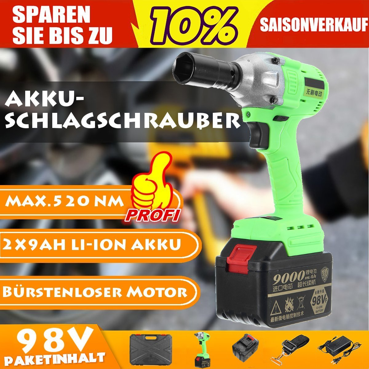 Cordless Electric Wrench 520Nm High Torque 98V Li-ion Impact Wrench Brushless with 2 Battery 220V Power ToolCordless Electric Wrench 520Nm High Torque 98V Li-ion Impact Wrench Brushless with 2 Battery 220V Power Tool