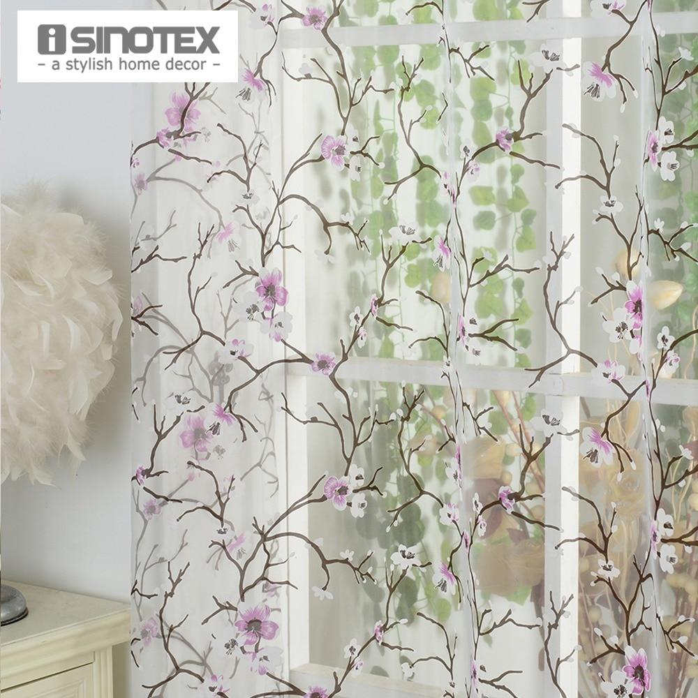 1PCS/Lot iSINOTEX Window Curtain Plum Flower Transparent Sheer Burnout Tulle Voile Fabric Living Room Screening