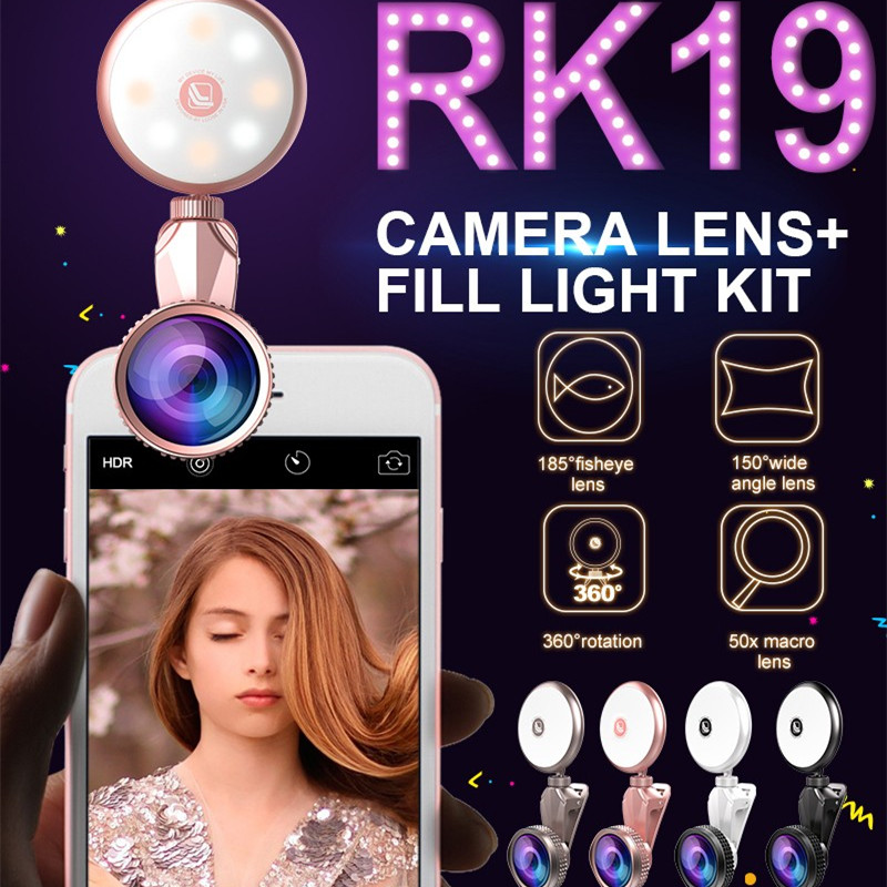 Highest Level Clip on selfie Ring Light 2 in1 50X Wide Angle Lens with Macro Lens for Smartphone Mobile Phone RK19 selfie light led fill in flash light wide angle macro lens for smartphone white