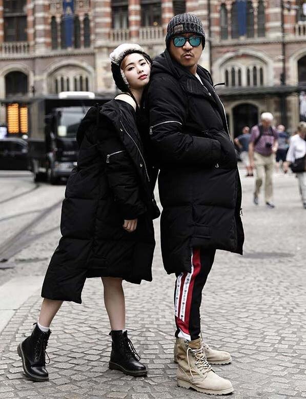 Popular 2018 men's duck   down     coat   lover couple's winter jacket hip hop style long parka jacket hooded black 6xl 7xl 8xl 9xl 10xl