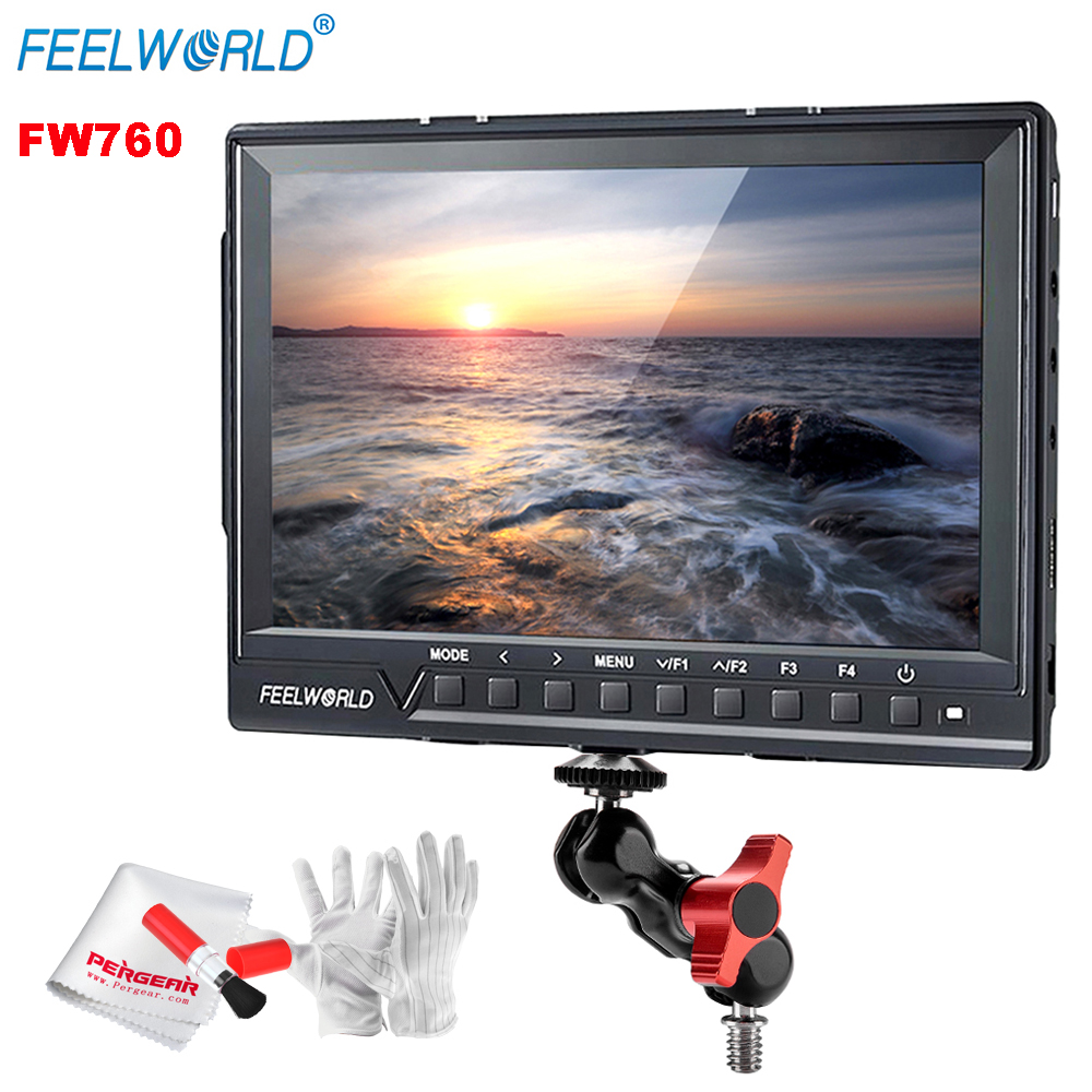 Feelworld FW760 Full HD 1920x1280 7 pouces caméra vidéo IPS moniteur classé HDMI mise au point maximale Assis avec adaptateur de montage de bras magique