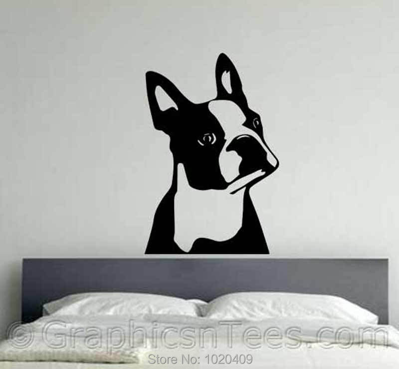 Cute Boston Terrier Dog Sticker Bedroom Lounge Home Wall Art Sticker Decal Home Decor Bulldog Dog Design Preferred A020