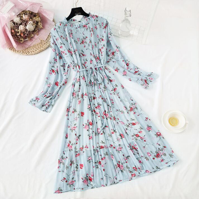 2020 New Women Spring Print Dresses Long Sleeve Chiffon Pleated Dress Loose Casual Plus Size Ruffles Flare Sleeve Long Dress