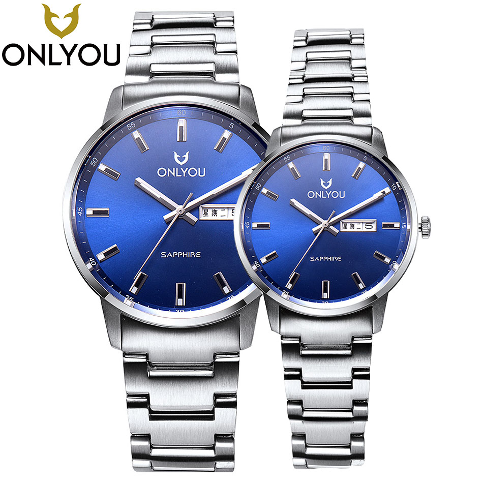 ONLYOU Lovers Watches Top Brand Luxury Fashion Casual Watch Men Quartz Waterproof Clock Dress Wristwatches Steel Quartz-Watch onlyou lovers quartz watches luxury men women fashion casual watch 50m waterproof simple ultra thin design wristwatches