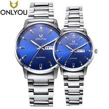 ONLYOU Amantes Relógios Top Marca de Luxo Moda Casual Homens Relógio de Quartzo Relógio de Vestido de Aço Relógios de Pulso de Quartzo-Relógio À Prova D' Água