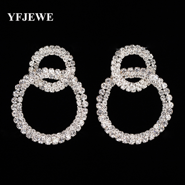 YFJEWE Fashion Round Drop Earrings Silver plated Austrian Crystals Women  Earrings Jewelry Brinco Party Accessories Gift 5c3b06b91d37
