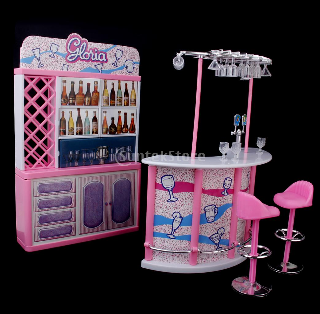 ... New Arrivals 2015 Plastic Gloria Dollhouse Furniture Bar Play Set For  Dolls HOT SALE