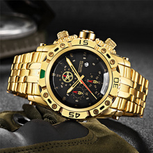 TEMEITE altın izle erkek takvim paslanmaz çelik kuvars kol saati erkek moda büyük saatler Top marka lüks saat