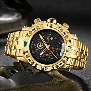 Image 1 - TEMEITE montre dorée pour homme calendrier acier inoxydable Quartz montre bracelet hommes mode grandes montres haut de gamme horloge de luxe