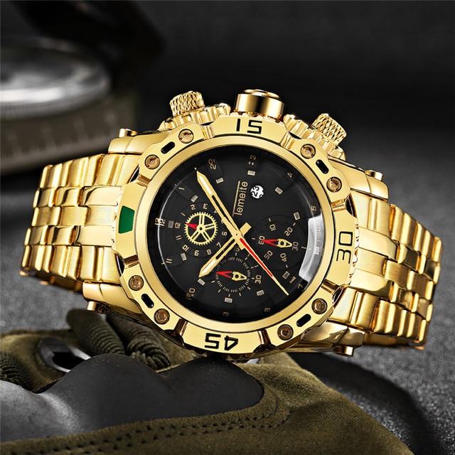 TEMEITE montre dorée pour homme calendrier acier inoxydable Quartz montre bracelet hommes mode grandes montres haut de gamme horloge de luxe