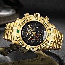 TEMEITE złoty zegarek dla mężczyzn kalendarz ze stali nierdzewnej kwarcowy zegarek moda męska duże zegarki na rękę Top marka ekskluzywny zegarek