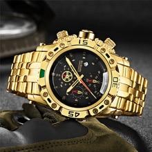 TEMEITE ساعة ذهبية للذكور التقويم الفولاذ المقاوم للصدأ كوارتز ساعة اليد للرجال موضة ساعات كبيرة العلامة التجارية الفاخرة على مدار الساعة