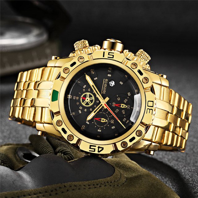 TEMEITEสีทองสำหรับชายสแตนเลสสตีลควอตซ์นาฬิกาข้อมือแฟชั่นผู้ชายนาฬิกาแบรนด์หรูนาฬิกา