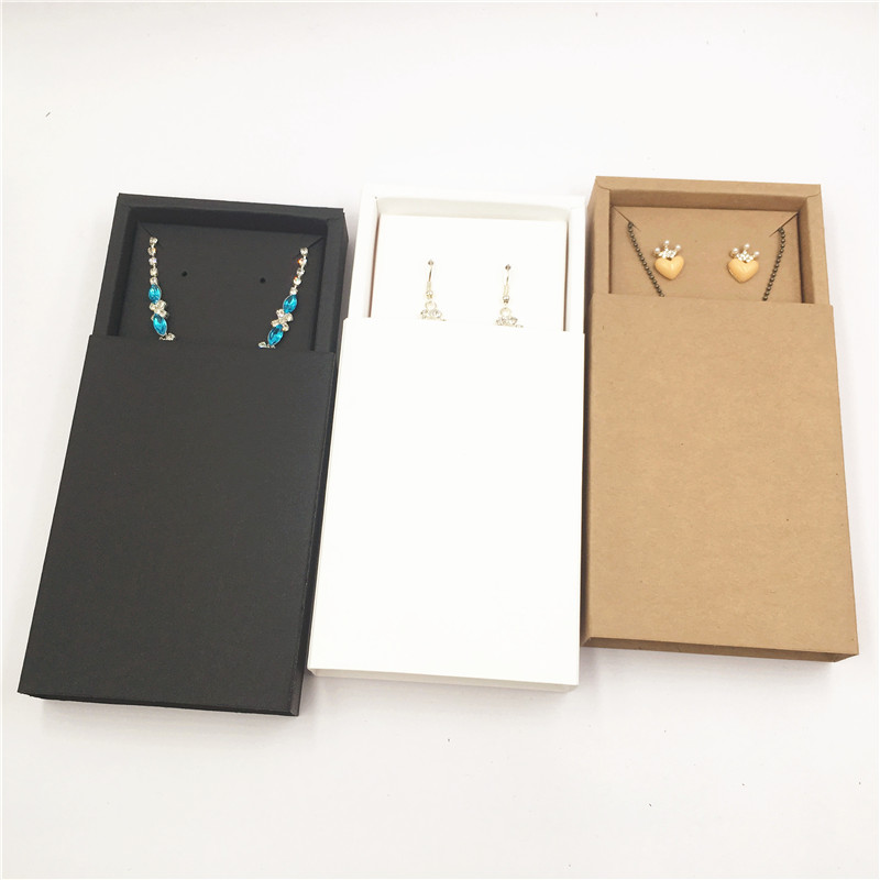Blank Vintage Kraft Paper Jewelry Packaging Gift Box Drawer Style Necklace Pendant Storage Box Caja De Dulces