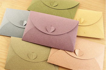 1000 PCS A6 colorful paper envelopes with Love buckle Business Photo envelope creative gift envelop size 175*110mm 1
