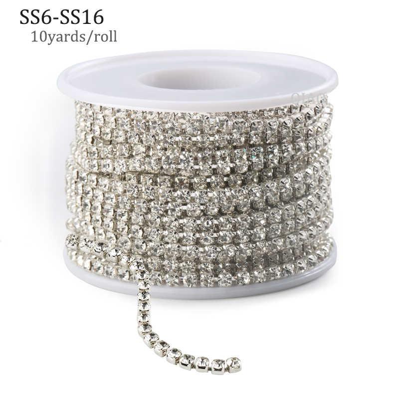 10 jardów/rolka jasny kryształ SS6-SS16(2mm-4mm) srebrna podstawa miedziany kubek łańcuszek z kryształów górskich odzież styl szycia diy akcesoria kosmetyczne