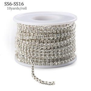 10yards/roll Clear Crystal SS6-SS16(2mm-4mm) Silver Base Copper Cup Rhinestone Chain Apparel Sewing Style diy Beauty Accessories(China)