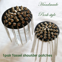 1pair round tassel Beaded epaulette for clothes Punk Wind Coat Suit DIY Fashion Tassel Badge Epaulets Shoulder Patches appliques цена 2017