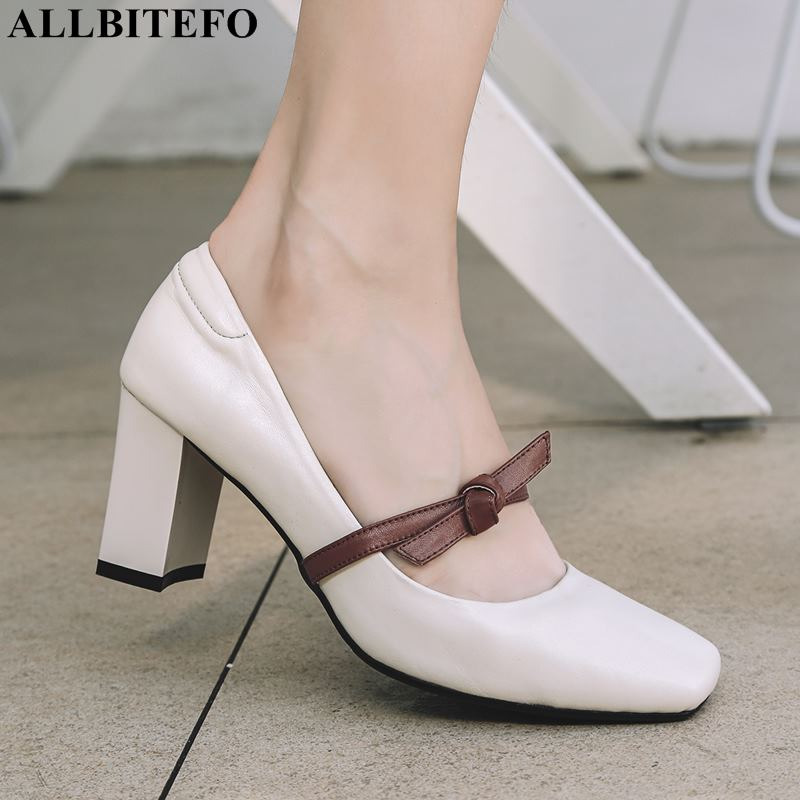 ALLBITEFO square toe genuine leather high heels party women shoes sweet women high heel shoes office