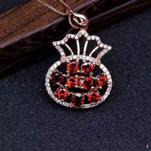 Natural red garnet pendant s925 silver natural gemstone pendant natural red garnet pendant s925 silver natural gemstone pendant necklace trendy elegant lucky bag purse fan mozeypictures Gallery
