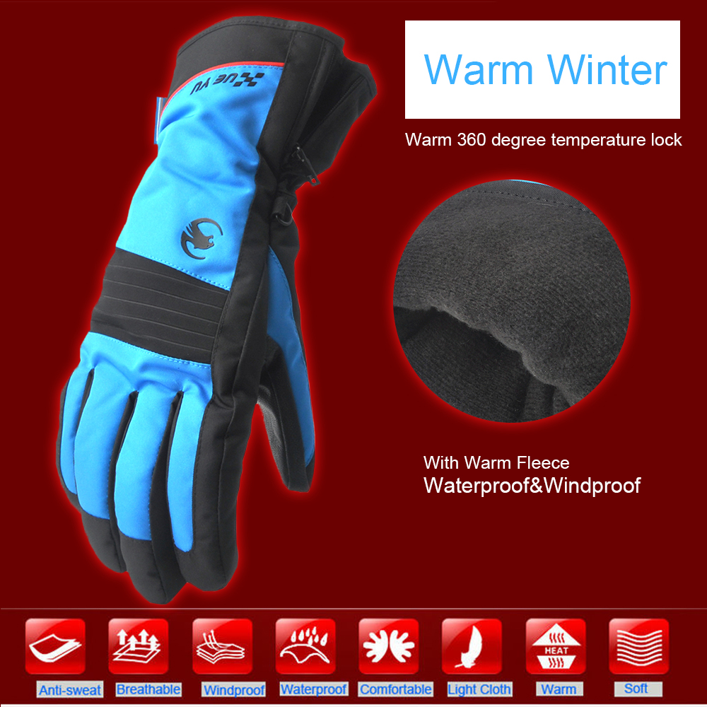Blue Red Warm Ski Snowboard Skiing Gloves Motorcycle Riding Winter Gloves Windproof Waterproof Snow Glove Men Women leather