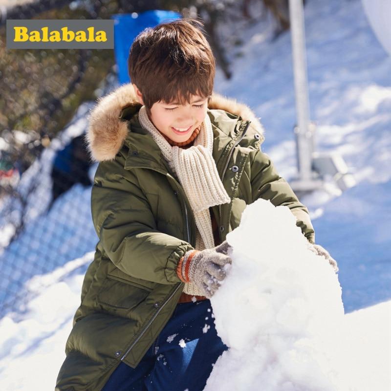 Balabala Boys Long Frost Free Jacket with Faux Fur Trimed Hood Teenage Boy Zip up Hooded