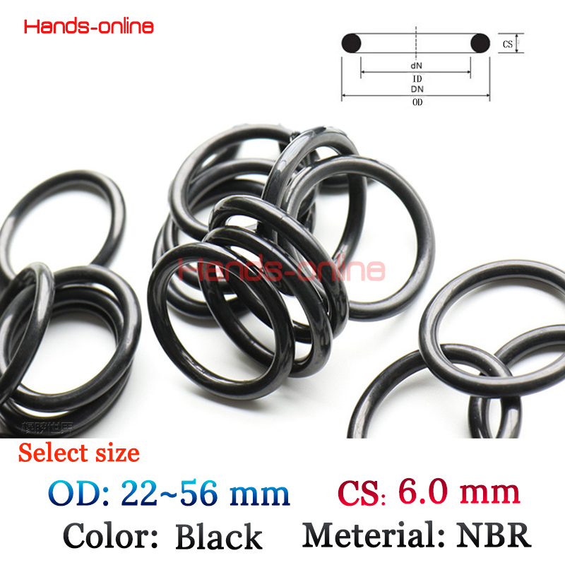 10pcs/lot Select OD 22 28 32 38 40 42 44 47 50 52 56 mm x CS 6mm O-rings O Ring oil seal resistant NBR Rubber seals o-ring metal o rings o ring purse ring connector anti bronze 12 mm 1 2 inch 40pcs u123