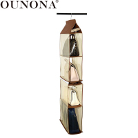 OUNONA 4 Compartment Pouch Hanging Organizer Purse Bag Collection Storage Holder Closet Organizers for Living Room Bedroom