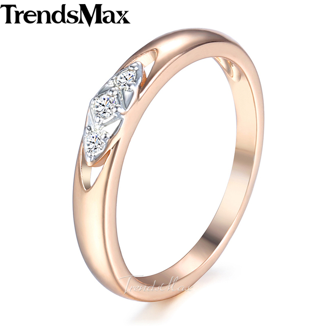 Trendsmax Simple Round Band Carved Cz Wedding Ring For Womem 585 Rose Gold Color 3mm