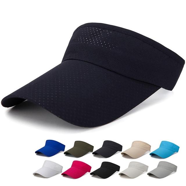 3774d686490 Summer Men Women Sun Visor Cap Solid Adjustable Beach Sports Visor Caps  Lengthen Breathable Running Hap